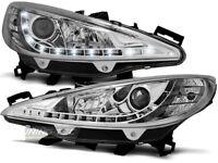 Coppia di Fari Anteriori LED DRL Look per Peugeot 207 2006-2009 Daylight Cromati