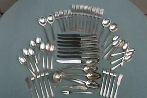 60pc Holmes & Edwards Pagents Silverplate Flatware for Crafts or Use