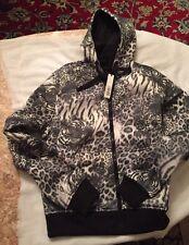 Womens  Riflessi Tiger & Leopard Print Fleece Hooded Jacket NWT