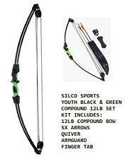 Youth/Child Black & Green Compound Archery Bow 12Lbs Kit Set 4 X Arrows & Access