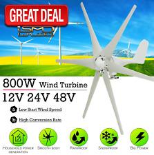 800W Peak 6 Blades 12V/24V/48 Horizontal Wind Turbine Generator Residential Home
