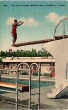 1940s Florida Postcard Sarasota FL Lido Beach Casino Pool Diving Board Jump DIve