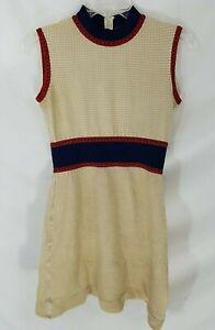 VTG 70s Multicolor Sleeveless Ribbed Waffle  Mini Dress Sz S