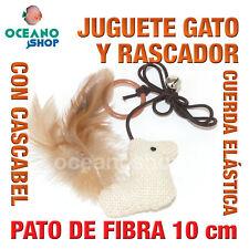 JUGUETE RASCADOR GATO PATO CUERDA COLA NATURAL + CASCABEL 10 cm L137 3582