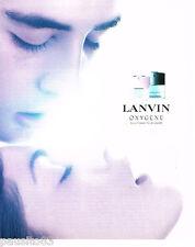 PUBLICITE ADVERTISING 075  2002  le parfum OXYGENE de LANVIN homme & femme
