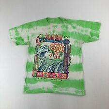 Vtg Sun Sportswear Island Girl Grn/Wht Tie Dye Surfer Beach Glitter Neon T-Shirt