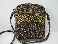 VERA BRADLEY Black Floral Crossbody Bag Purse Zip Closure