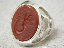 BEAUTIFUL HAND MADE COSTUME CARVE CUT MEN'S SILVER RING WITH CARVE RED AQEEQ