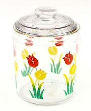 Vintage Anchor Hocking Glass Canister Kitchen Candy Cookie Storage Jar Tulips