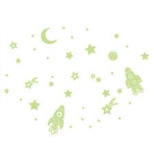 Wall Stickers Cartoon Twinkle Star Moon Glow In The Dark Luminous Decals De J5F2