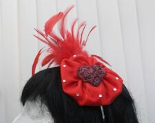 RED  HEART, FEATHER, HEADBAND,  FASCINATOR - CLEARANCE STOCK