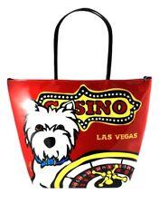 Marc Tetro Las Vegas Casino Westie Dog Vinyl Tote beach Bag Red Purse Pool party