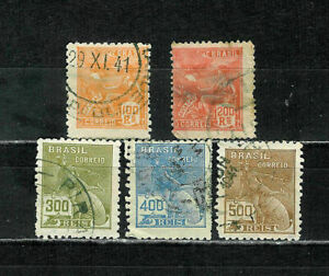 BRASIL 224-230  AVIATION AND MERCURY ~ 1920-1922 ~ 100 YEAR OLD STAMPS
