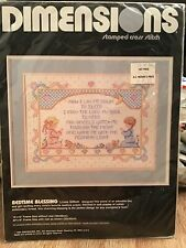 "Dimensions ""Bedtime Blessing"" Stamped Cross Stitch Kit 1989 #3093 Night Prayer"