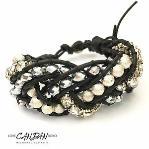 Black Classy Cuff Genuine Leather Bracelet Handmade In Melbourne Bridal Evening