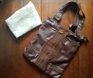 JIMMY CHOO LEATHER & SUEDE EXPANDABLE BAG-BROWN.retails $800.