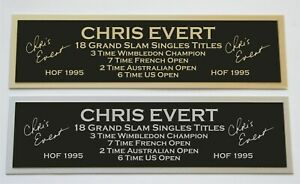 Chris Evert nameplate for signed autographed tennis ball photo racket