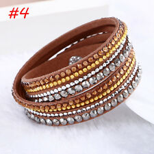 Fashion Leather Wrap Wristband Charm Crystal Rhinestone Cuff Bracelet Bangle2017 #4