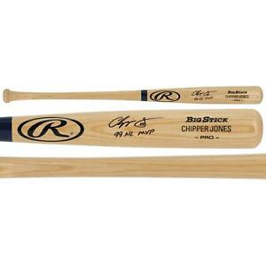 "Chipper Jones Atlanta Braves Signed Rawlings Game Model Bat & ""99 NL MVP"" Insc"