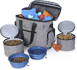 Dog Food Travel Bag Organizer Collapsible Bowls Container Pet Supply Accessories