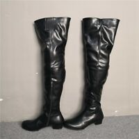 Womens Over Knee High Boots Block Mid Heel Leather Nightclub Riding Punk Shoes