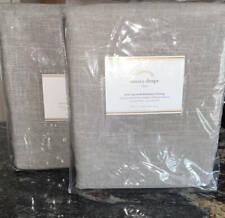 New~2 Pottery Barn Emery Cotton Linen Blackout Drapes~50x84~Grey Gray