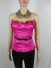 Womens Magenta Ruffle Satin Sexy Club Vamp Bustier Basques Corset Top sz 8 AS69