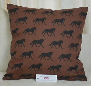 "Handmade CUSHION COVER 17""x17"" 43cm sq Black Horses on Brown 100% Cotton"