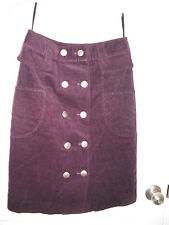 "Women 100% cotton corduroy skirt color eggplant size waist 25"" x length 22"" new"