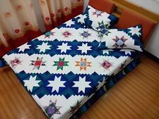 Queen size machine pieced and quilted Patchwork quilt J-100