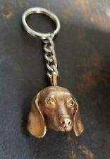DOG UNIQUE REALISTICALLY CAPTURED SPANIEL KEY CHAIN /PENDANT 18k GOLD CLAD BRASS
