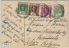 51815 - CEYLON - POSTAL HISTORY - STATIONERY CARD with added stamps to BELGIUM