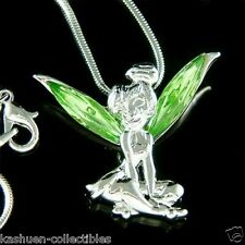 Green ANGEL w Swarovski Crystal fairy ~Tinkerbell~ Tinker Bell Pendant Necklace