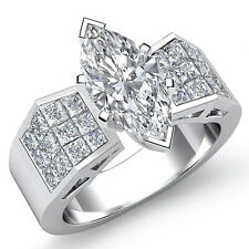 Fine Marquise Diamond Huge Engagement Ring GIA Certified G SI1 Platinum 1.84 ct