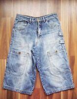 @ ph industries @ Jeans Bermuda Blue Aus Den 90er Size W30 Size M Look Skater