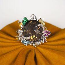 .40cttw DIAMONDS 14k White Gold Smokey Topaz,Citrine,Sapphire,Rubys,Pink Ring