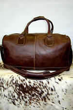PREMIUM BROWN LARGE HOLDALL GENUINE LEATHER, SPORTS, WEEKEND TRAVEL DUFFLE  BAG