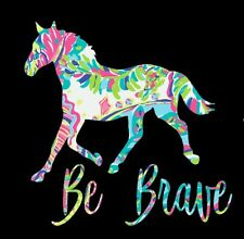Be Brave Horse in Floral Pattern Printed Decal for Car/Window/Mirror/Truck