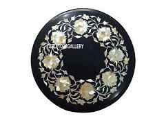 "12"" Abalone Stone Black Marble Table Top Coffee Inlay Marquetry Arts Decor H3511"