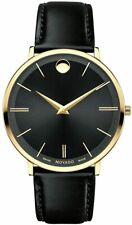 Movado Ultra Slim 0607087 Gold PVD Black Dial Leather Strap 40mm Men's Watch