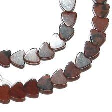 """NG2467f Mahogany Brown Obsidian 4mm Flat Heart Natural Gemstone Beads 16"""""""