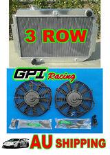 3 ROW Aluminum RADIATOR for HOLDEN HQ HJ HX HZ 253 & 308 V8 + 2 × fans