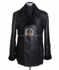 German Navy Black Men's Military Real Shearling Sheepskin Leather Jacket Coat