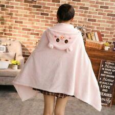 Cotton Blanket Solid Warm Fleece Plush Cute Cloak Sofa Bedding Soft Cozy NR9