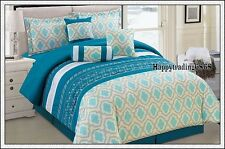 Turquoise White Linen Embroidered 7pc* QUEEN Comforter Set + Valance 3 Cushion
