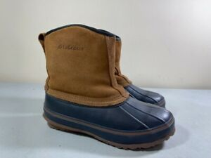 LACROSSE WOMEN'S TAN & BLUE SUEDE & RUBBER PAC INSULATED BOOTS SIZE 7