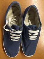 Trash Halbschuhe Schnürer Schuhe Canvas Segeltuch Blau Weiß Gr 39 Wie Neu