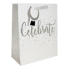 Gift Bag, Tag & bag Seal - White & Silver 'Celebrate' Design 26.5x21cm