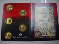 CB698) Australia 1984 - 1992 Australian One Dollar Five Coin Set