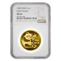 1982 1 oz Chinese Gold Panda NGC MS 66